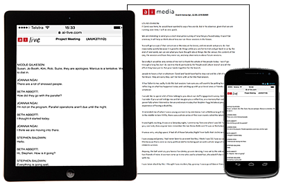 Ai-Media transcription formats: tablet, smart phone or printed document version.